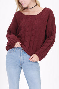 Burgundy Cable Knit Sweater
