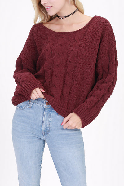 Burgundy Cable Knit Sweater (final sale)
