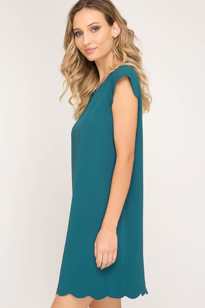 Sea Green Cap Sleeve Sheath Dress With Scalloped Edges