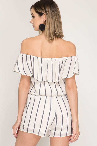 Cream Striped Off Shoulder Romper With Ruffles