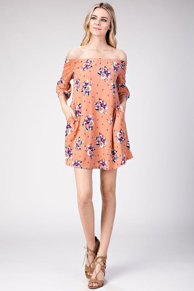 Peach Floral Off Shoulder Dress (final sale)