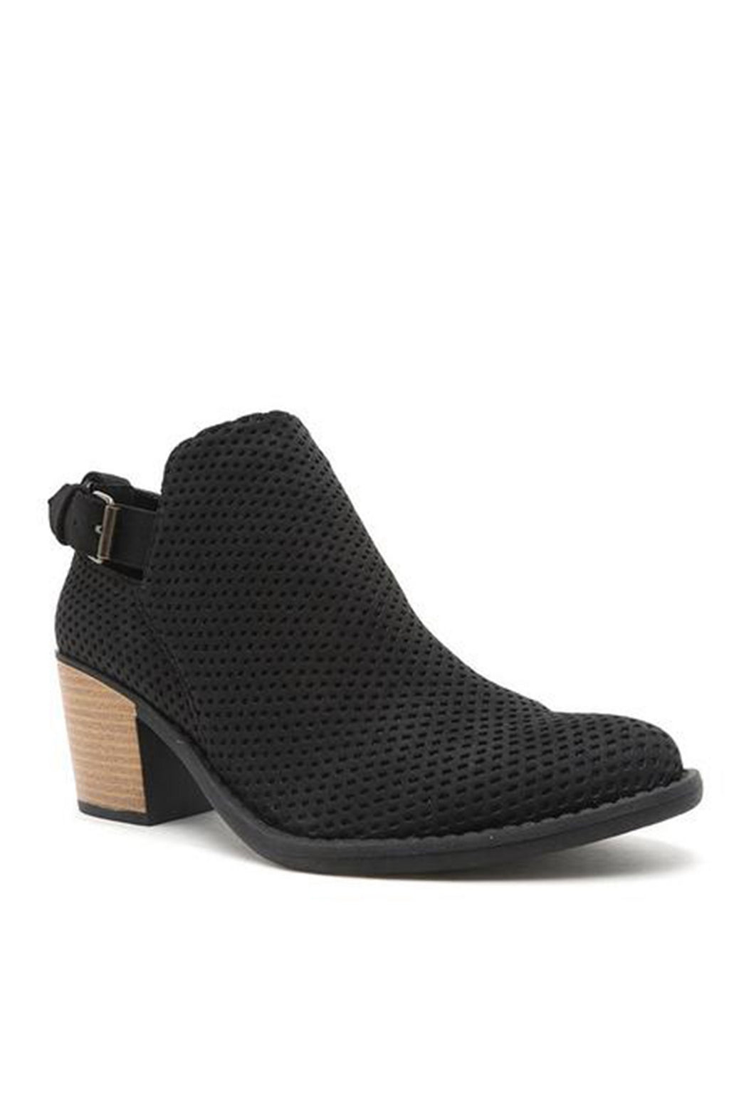 Black Perforated Ankle Bootie