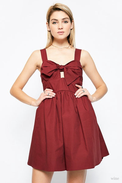 Wine Front Tie Poplin Dress (final sale)