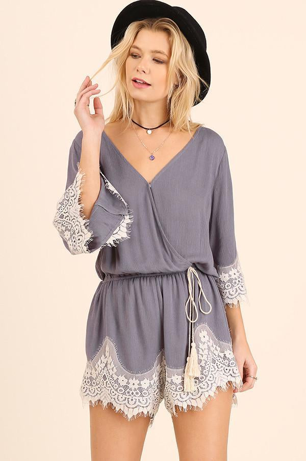 Grey Lace Trim Tassel Tie Romper