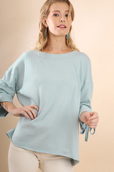 Blue Tie Sleeve Pullover Sweater