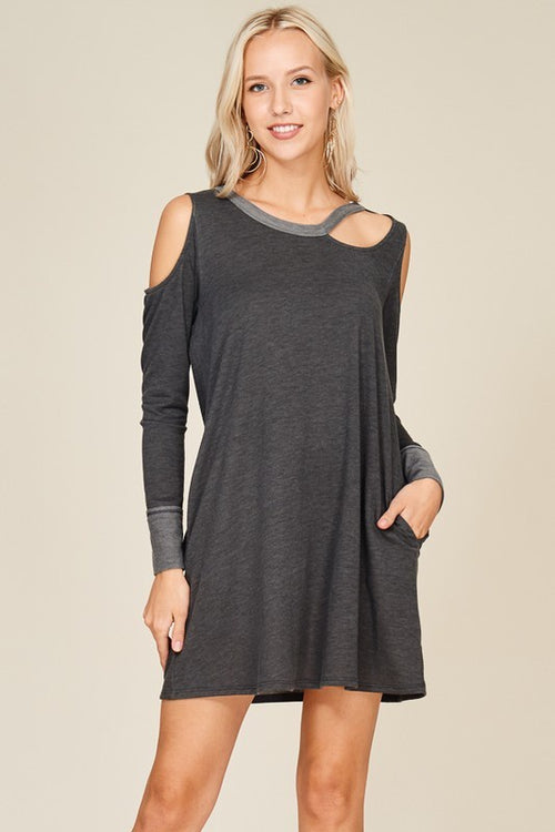 Grey Cold Shoulder Pocket Dress