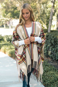 Ivory Plaid Open Sleeve Ruana