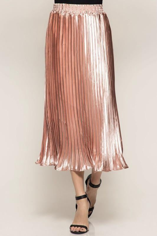 Rose Pink Metallic Pleat Skirt (final sale)