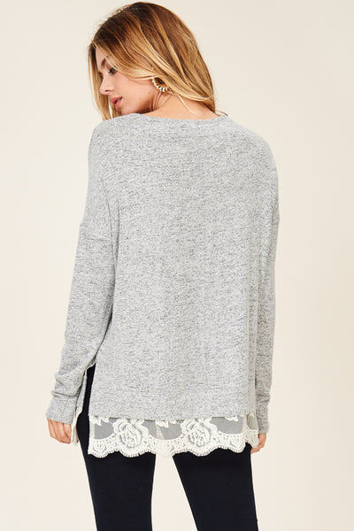 Grey Lace Hem V-Neck Sweater