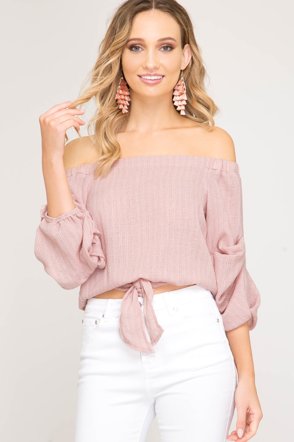 Rose 3/4 Sleeve Woven Striped Off The Shoulder Top