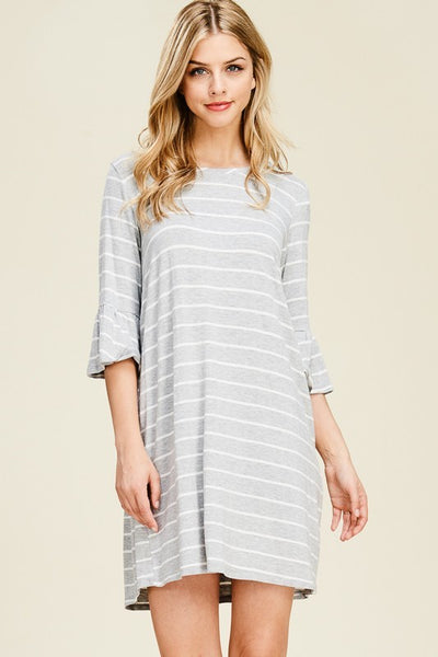 Grey Striped Ruffle Sleeve Dress (final sale)