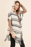 Black Striped Hooded Cardigan