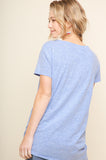 Blue Basic Short Sleeve Gathered Twist Top (final sale)