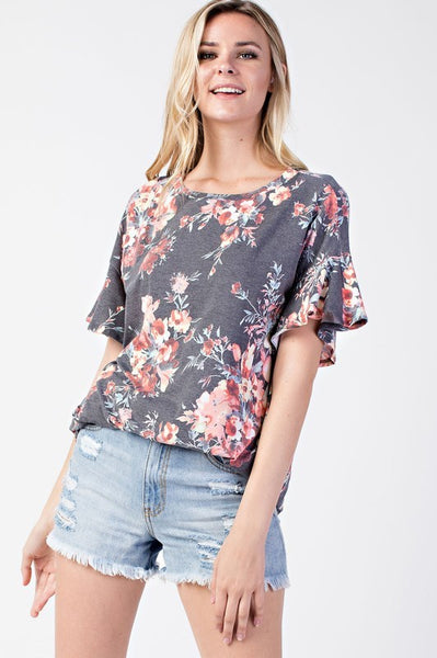 Black Floral Ruffle Sleeve Top