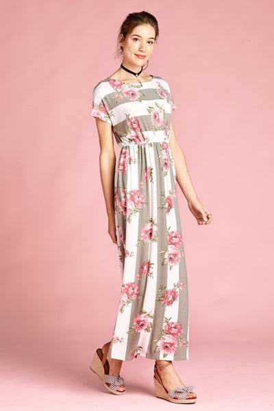 Stone Floral Print Stripe Maxi Dress