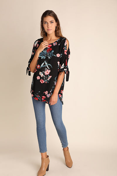 Black Floral Cut Out Sleeve Top