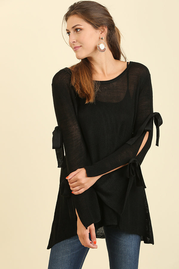 Black Cut Out Tie Sleeve Top