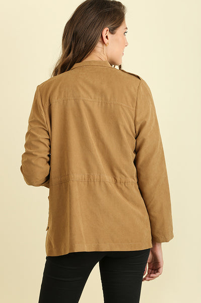 Camel Zipper Front Cargo Pocket Jacket