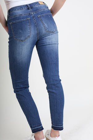 Stone Washed Raw Hem Distressed Skinny Jean (final sale)