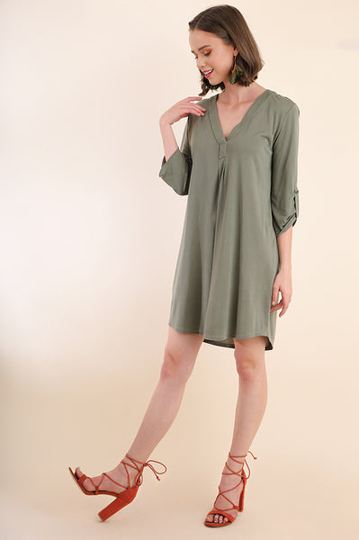 Olive 3/4 Sleeve Cupro Dress