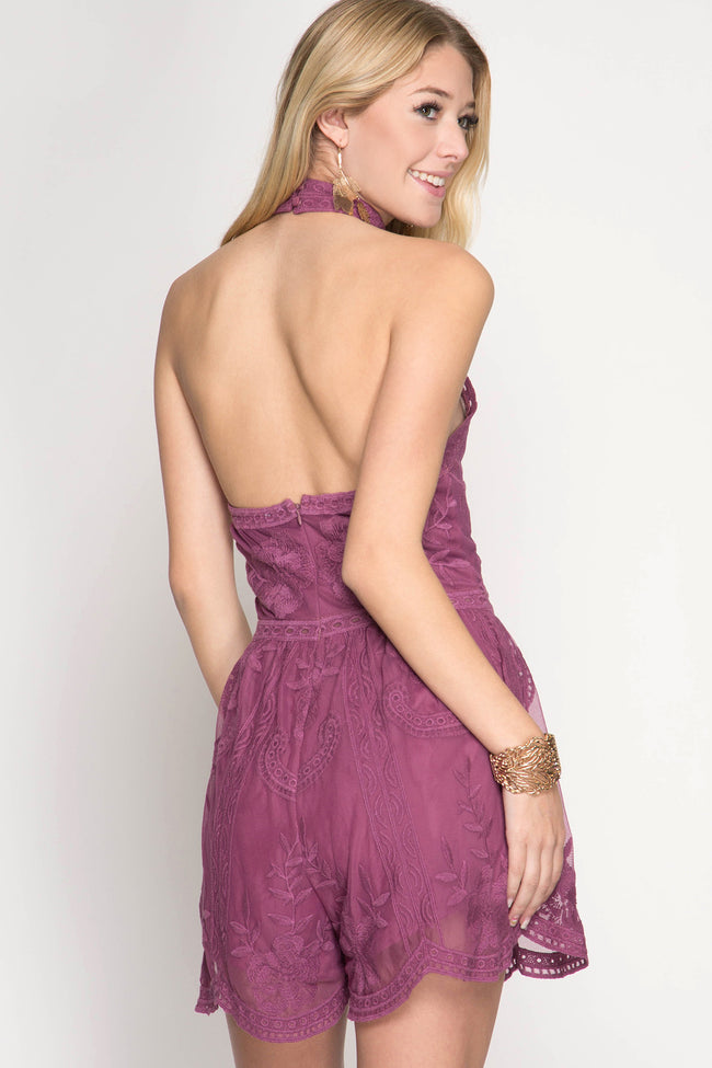 Mauve Halter Lace Romper (final sale)