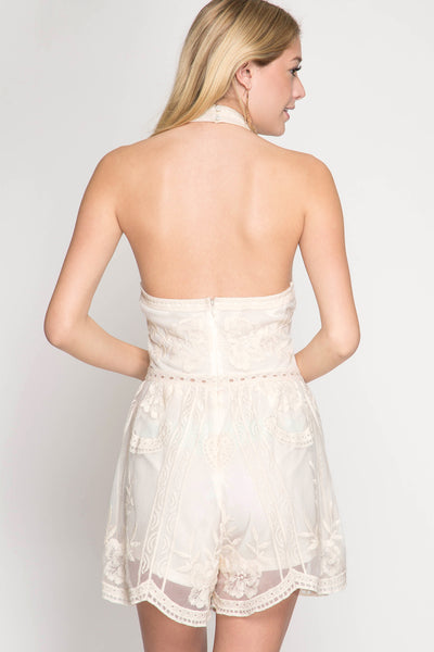 Ivory Halter Lace Romper (final sale)