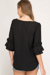 Black Origami Ruffle Sleeve Blouse