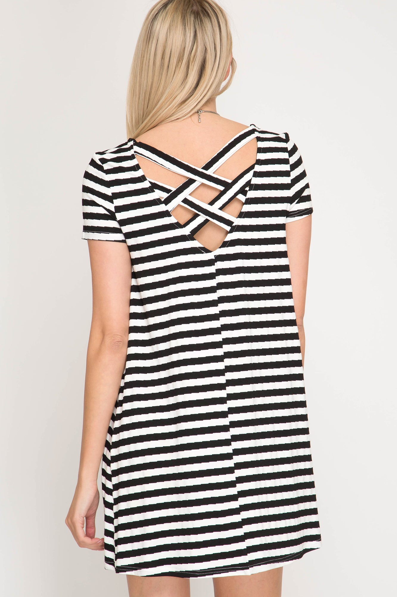 Black Stripe Short Sleeve Knit Dress (final sale)