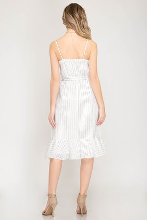 Off White Sleeveless Woven Stripe Midi Dress