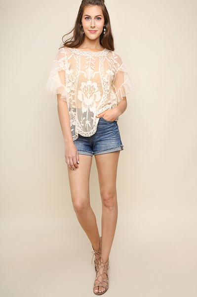 Cream Embroidered Short Sleeve Mesh Top