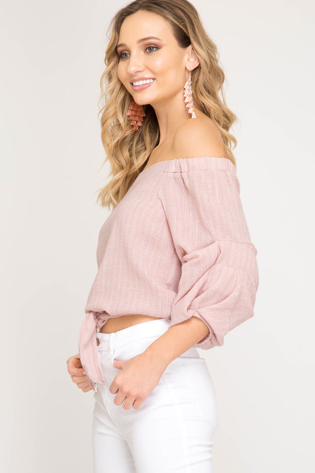 Natural 3/4 Sleeve Woven Striped Off The Shoulder Top
