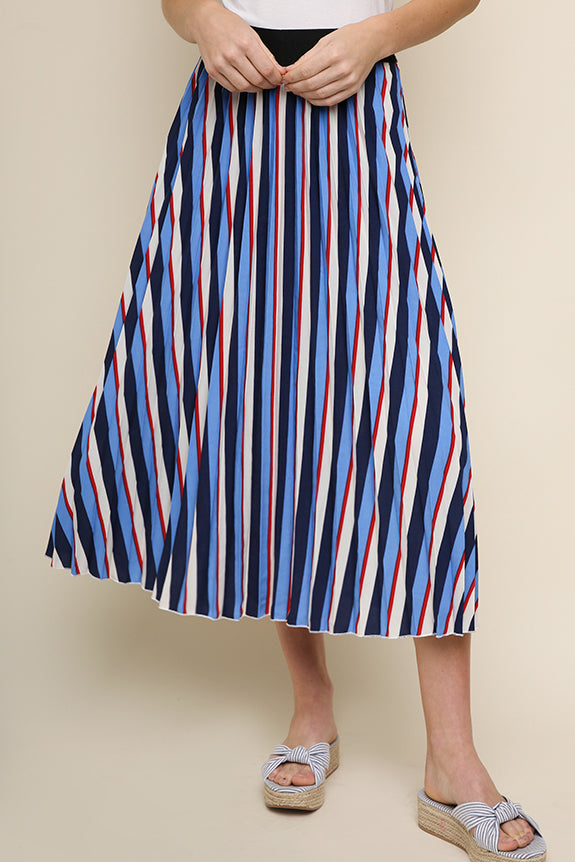 Blue Striped Pleated Midi A-Line Skirt