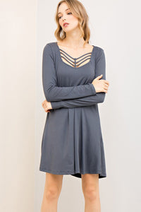 Grey Long Sleeve Cage Cut Out Dress