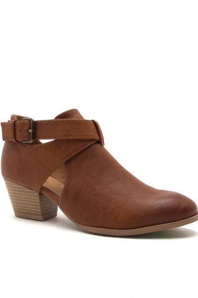 Cognac Burnish Cross Strap Bootie