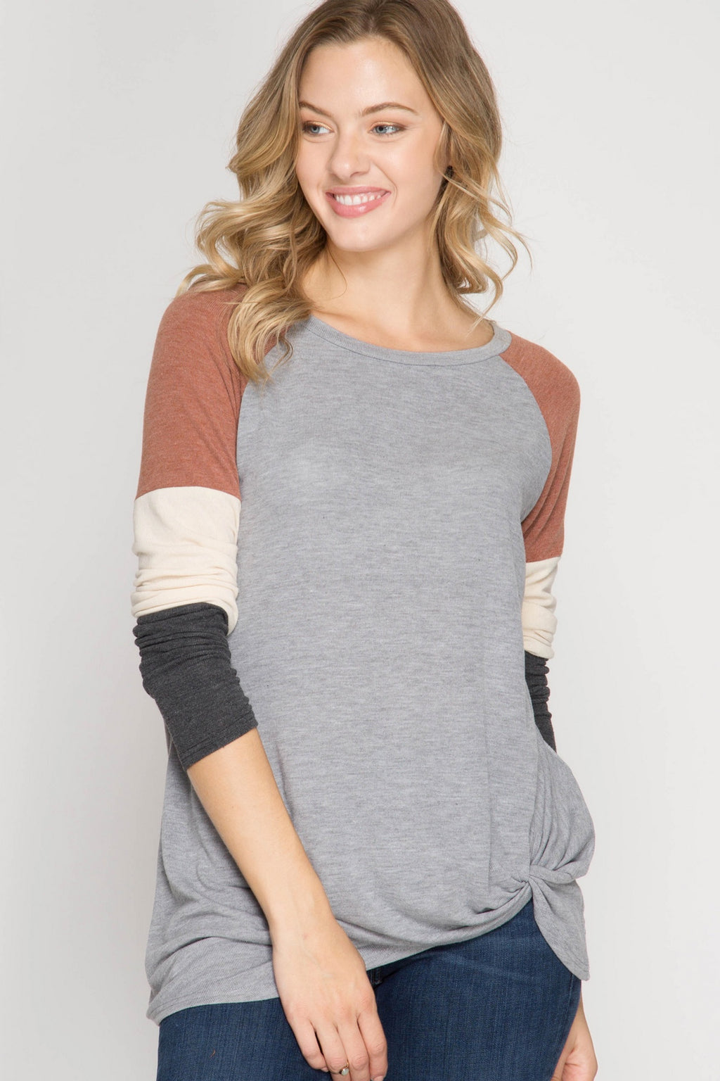 Grey Color Block Sleeve Side Knot Top