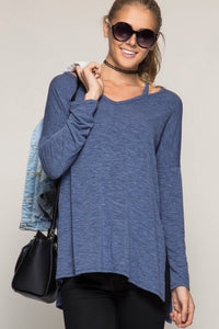Long Sleeve Navy Cutout Tunic