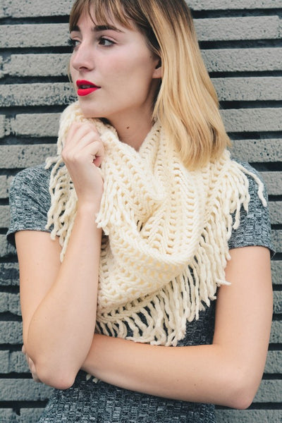 Lattice Tassel Infinity Scarf (final sale)