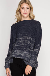Navy Ombre Pullover Sweater