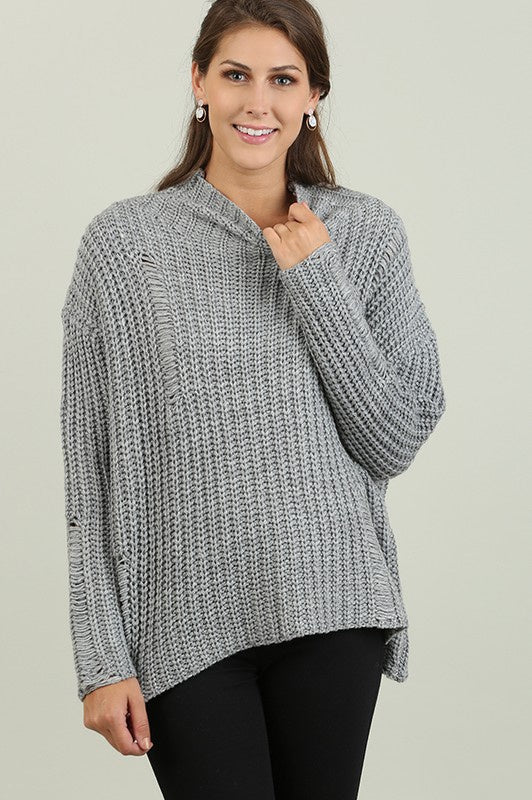 Grey Long Sleeve Turtleneck Sweater