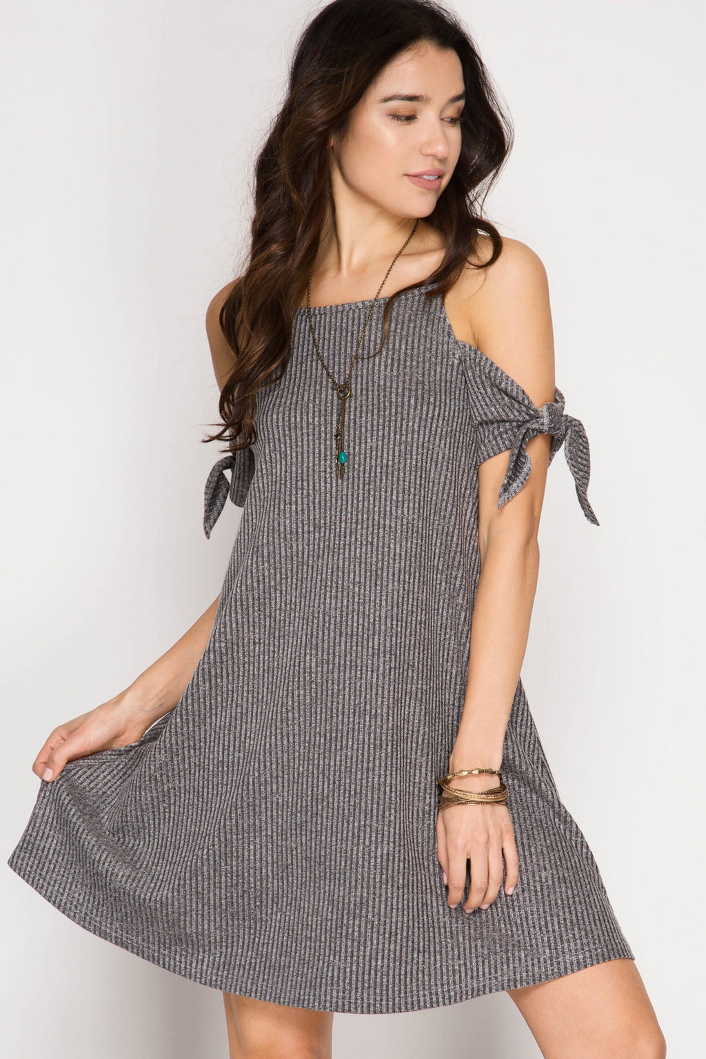 Grey Short Sleeve Ribbed Cold Shoulder Dress