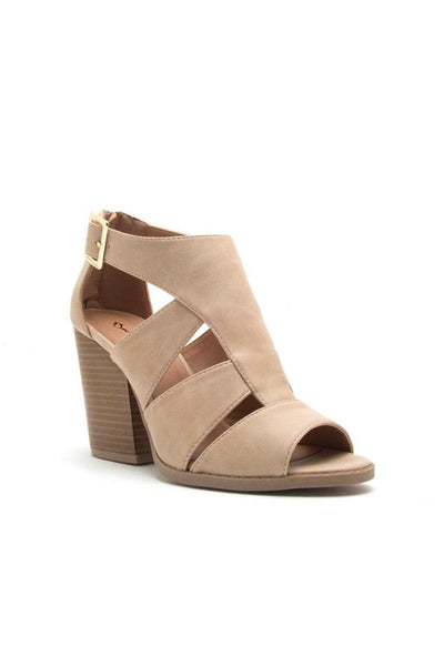 Taupe Cutout Peep Toe Heel Sandals