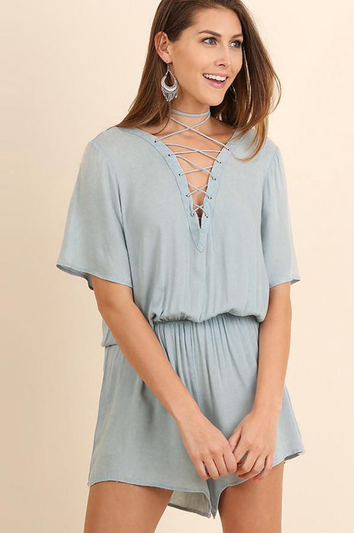 Light Blue Lace Up Front Romper (final sale)