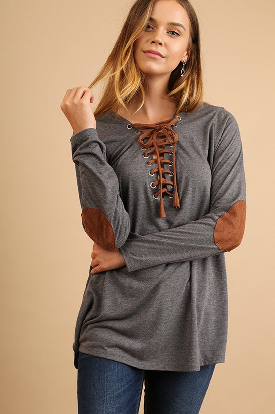 Grey Drawstring Elbow Patch Top