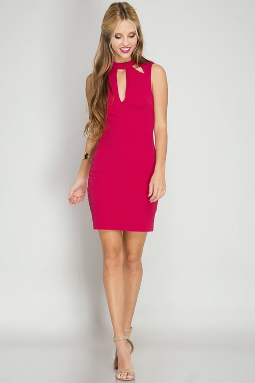 Fuchsia Open Back Midi Bodycon Dress (final sale)