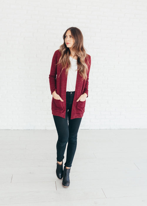 Burgundy Marled Pocket Cardigan