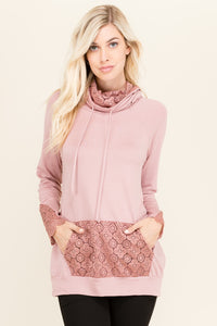 Mauve French Terry Lace Contrast Tunic