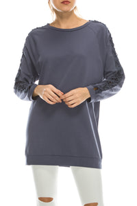 Blue Lace Up Sleeve Tunic Sweater