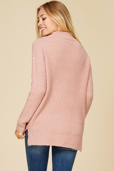 Mauve Mock Neck Ribbed Sweater (final sale)