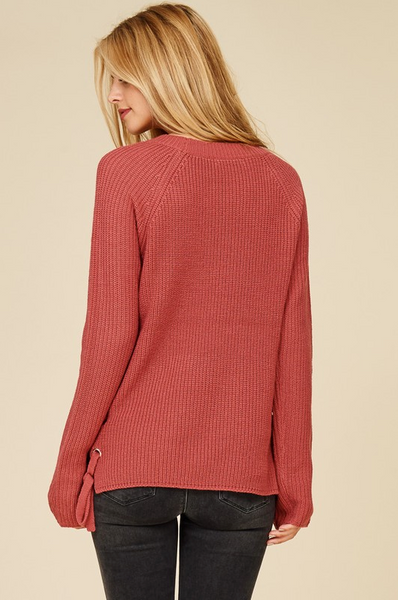 Oatmeal Side Lace Up Pullover Sweater