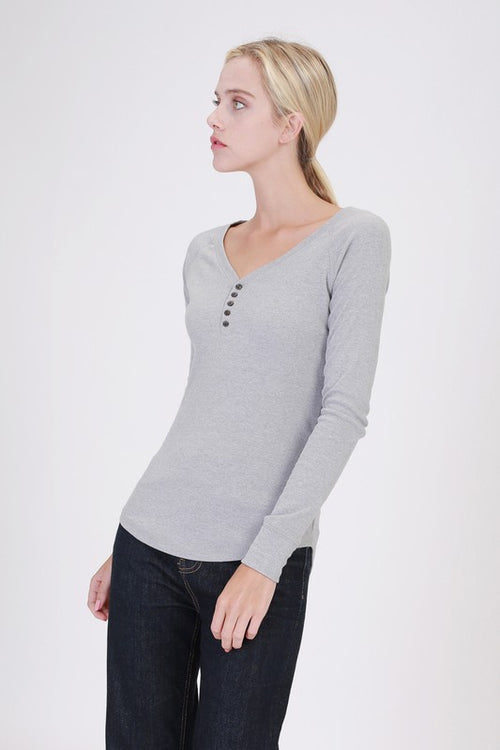 Heather Grey Ribbed Long Sleeve Henley